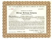 Calumet and South Chicago Railway Company Stock Bond Certificate of Deposit